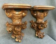 Antique Pair Of German Black Forest Shelves 19th Century Woodwork Flowers Wood