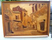 Vtg Antique Large Wood Marquetry Inlaid Folk Art Framed Picture Cafe Town Scene
