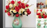 4 Bouquets Of Artificial Roses With Ceramic Printing Vases Silk Red(with Vase)
