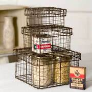 Set Of Three Nesting Wire Boxes Baskets Square Rustic Country Primitive