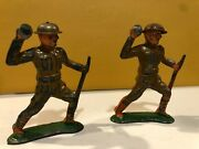 Lot Of 2 Vintage Barclay Manoil Lead Soldier Toy Tossing Grenade