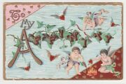 Ossining Ny Cupids Burning Hearts Campfire To My Affinity Valentine Postcard A33