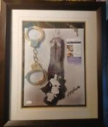 Tony Curtis...houdini...signed Display...photo W/handcuffs And...