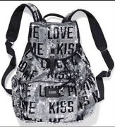 New Victoria's Secret Pink Fashion Show Bling Sequin Canvas Backpack Rare Gift