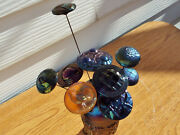 Northwood Grape And Cable Carnival Glass Hatpin Holder And 10 Hatpins