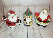 Lot Of 3 Fitz And Floyd Santa Claus Cookie Jars Collectible Holiday Decor