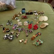 Vintage Lot Of Costume Jewelry Rings Pendants Earrings Pierced And Clip On