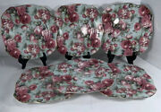 """6 Square Formalities By Baum Bros Pink Rose Chintz Collection Salad Plates 8"""""""