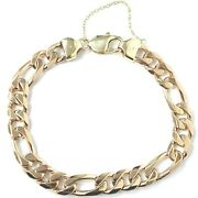 Gold Figaro Bracelet 9ct Yellow Gold Safety Chain Solid 44.3g 9.5mm 8.5 Inches