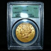 1907-p 20 Gold Liberty ✪ Pcgs Ms-64 ✪ Double Eagle Choice Uncirculated◢trusted◣