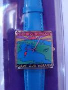 1991 Peter Max Vintage Watch Save Our Oceans New Old Stock Blue Leather Band.