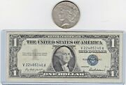 1927-p 1 Peace Silver Dollar And 1 Silver Certificate Star Note Lot, 1 Each