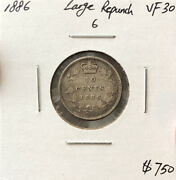 Canada 1886 Large Repunch 6 Ten Cents 6/6 Variety