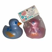 Vintage Baby World Co Set Of 2 Plastic Ducks Bathtub Toys Pink And Blue New Rare
