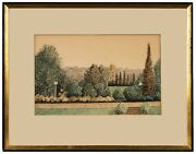 An Antique Watercolor Drawing Andldquothe Farm Hauppage L.i.andrdquo Signed H.j. Newhouse
