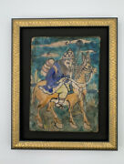Isnik Pottery Style Persian Theme Framed Picturesque Tile