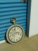 Clock Trade Sign 19th Century Watch Jewelry Repairing 1890's Sign Double Sided
