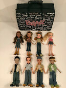Bratz Dolls 2001-2003 Mga Lot Of 8 Girls And Boys With Clothes Shoes And Travel Case