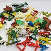 Vintage Lg Lot Of Cowboys And Indians And More Small Plastic Toys 70s 80s