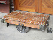 Antique Furniture Factory Cart Coffee Table Industrial Railroad Lineberry