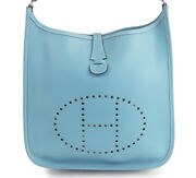 Hermes Evelyn 3 Troyes Pm Shoulder Bag Blue Used Very Good Condition Women