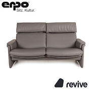 Erpo Monte Carlo Leder Sofa Grau Zweisitzer Couch Funktion Relaxfunktion