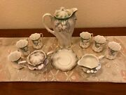 Rs Prussia Antique Chocolate And Tea Set For 6 - Pitcher + Creamer And Sugar +6 Cups