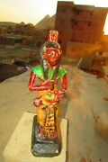 Rare Pharaonic Statue, Ancient Egyptian Wood Carvings And enamel. Hold A Tut
