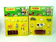 2 Vintage 1970s Farm Set Figure Cards - Cattle And Animals - Plastic Hong Kong Nos