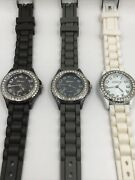 3 Geneva Silicone Strap Watches…lot 49… New Batteries