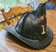 Antique Cairns And Brother Leather Fire Helmet Very Early 1880and039s - Ohio Pfd 10