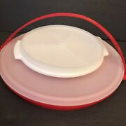 Vtg Tupperware Red Party Susan 405 Divided Serving Tray 608 Suzette Relish Dish