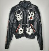 1990 Disney Mickey Mouse Genuine Leather Starter Jacket, Large Runs Small