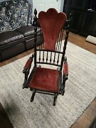 Antique Rocking Chair Hand Carved And Turned Wood