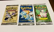 Cards Pokemon 3 Packs Sealed New First Series Jungle Fossil Artwork
