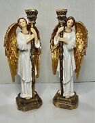 Pair Angel Candle Holders Large 12 Set Of 2 Altar/ Religious