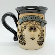 Vintage Ugly Funny Face 3-d Stoneware Art Pottery Secretary Mug Coffee Cup Sign