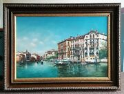 Grand Canal Venice Italy 20thc British School Signed Large Antique Oil Painting