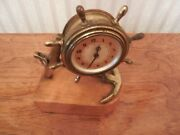 Vintage Plymouth 8 Day Clock - Brass Shipwheel And Anchor On Wooden Base