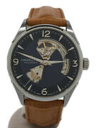 Hamilton Automatic Analog Leather Nvy H327050 Jazz Master Open Heart 1d0a7 Very
