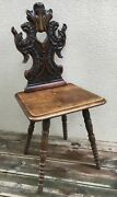 Antique French Black Forest Alsacian Chair Early 1900's Woodwork Leaves Nature