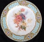Antique Royal Crown Derby Hand Painted Plate Blue Border Flowers L