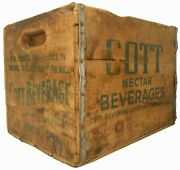 Scarce Cott Nectar Beverages New Haven Ct Red/grn Ink Stmpd Wood Box Advrt Crate