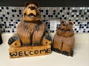 2 Chainsaw Carved Wood Bear Welcome Sign Handmade Sculpture Statue Decor Rustic