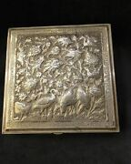 Antique Solid Silver 84 Persian Handcraft Decorated Large Engraved Cigarette Box