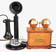 Beautiful Western Electric Dial Candlestick Giant Sleigh Bells Antique Telephone