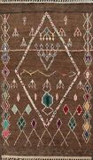 Thick-plush Geometric Moroccan Oriental Area Rug Tribal Hand-knotted Wool 6x9 Ft