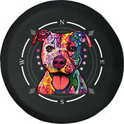 Spare Tire Cover Compass Neon Pitbull Cute Dog Fits Jeep Many Vehicles