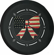 Spare Tire Cover Compass Cute American Flag Bow Ribbon Fits Jeep Many Vehicles