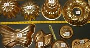 Antique Copper Mold Pans For Baking Molding Desserts Or Decoration The Kitchen.